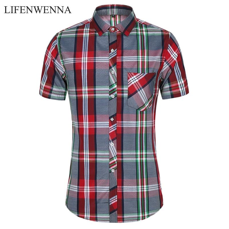 2020 New Fashion Plaid Shirt Men Summer Casual Short Sleeve Shirts Mens Plus Size Beach Hawaiian Tops Blouse Male 5XL 6XL 7XL 1