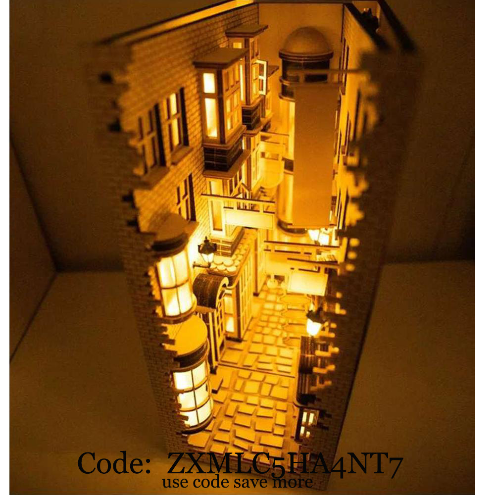 2020 New London Alley Street Rear Lane Bookcase DIY Wooden Assembly Model Bookshelf Street With Light Model Building Kit Calle