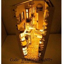 2020 neue London Alley Straße Hinten Lane Bücherregal DIY Holz Montage Modell Bücherregal Straße mit Licht Modell Gebäude Kit Calle