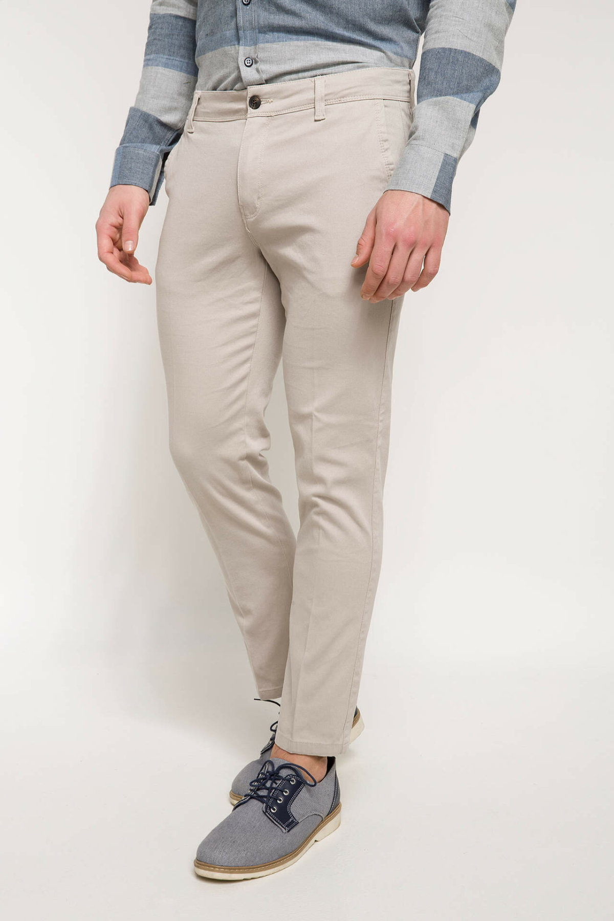 DeFacto Man Spring Smart Casual Mid-waist Long Pants Men White Solid Color Bottoms Male Business Trousers-I2060AZ18SP