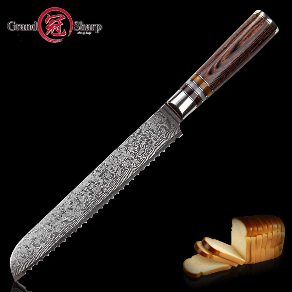Damascus Kitchen Knives vg10 Japanese Damascus Steel Bread Knife Cake Slicing Bakery Tools Serrated Stainless Damascus Blade NEW