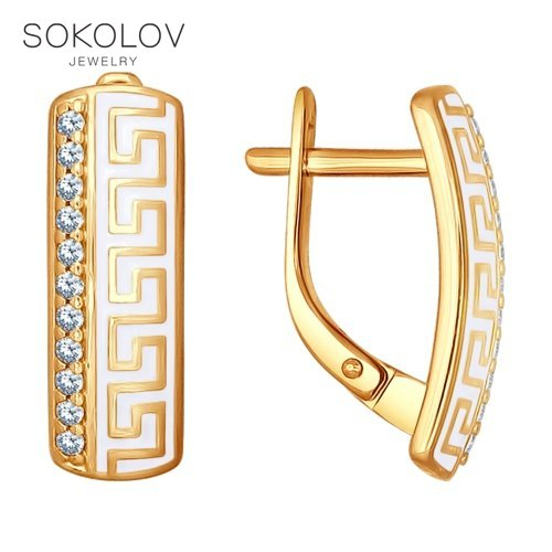 SOKOLOV Drop Earrings With Stones With Stones With Stones With Stones With Stones With Stones With Stones With Stones With Stones With Stones In Gilded Silver And Enamel With Cubic Zirconia Fashion Jewelry 925 Women's Male