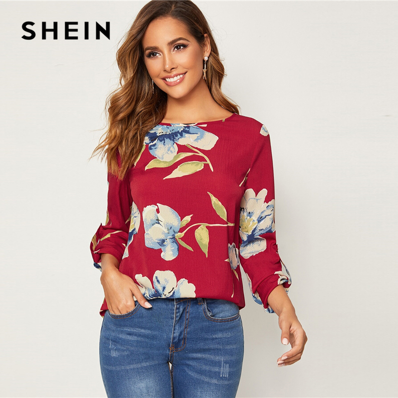 SHEIN Red Roll Tab Sleeve Floral Print Blouse Women Tops Spring Autumn Round Neck Roll Up Sleeve Casual Blouses