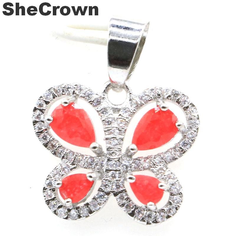 19x18mm Pretty Butterfly Shape Real Red Ruby CZ CZ Gift For Girls Silver Pendant