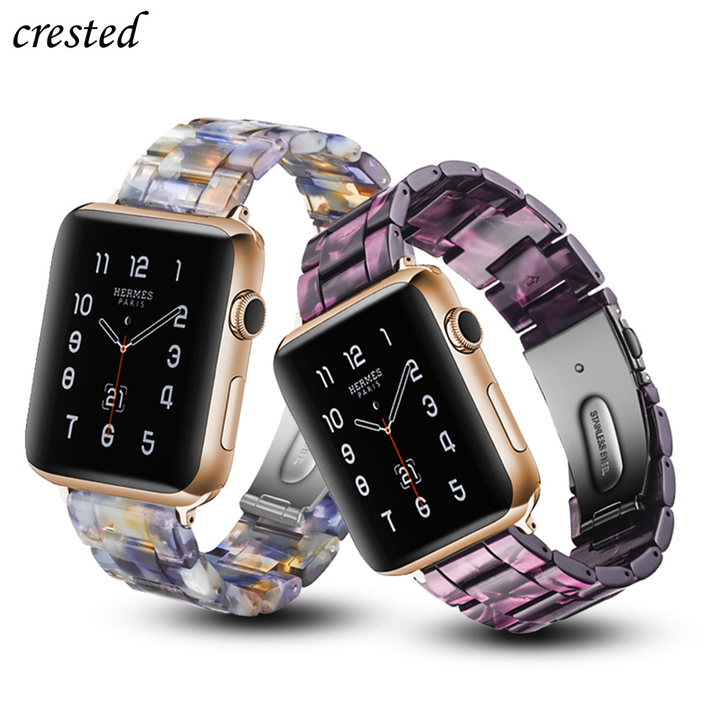 Resin Strap For Apple Watch Band 44 Mm 40mm Iwatch Band 42mm 38mm Stainless Steel Buckle Watchband Bracelet Apple Watch 5 4 3 21