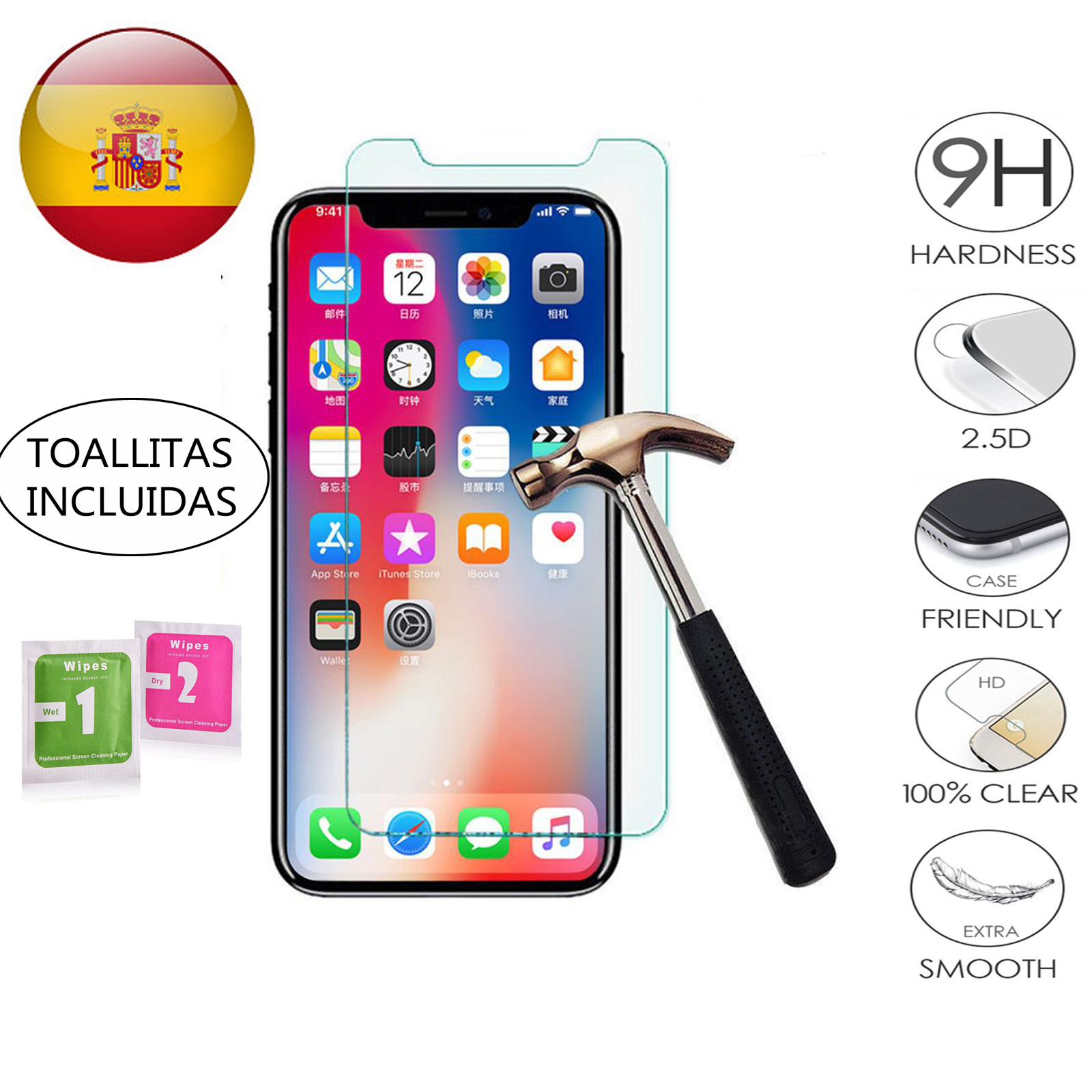 Protector de Pantalla Cristal Templado Vidrio 9H para Apple Iphone XR xr