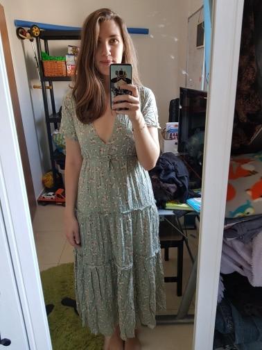 Summer Boho Style Long Print Dress Women Sexy Deep V-neck Ruffled Floral Dress