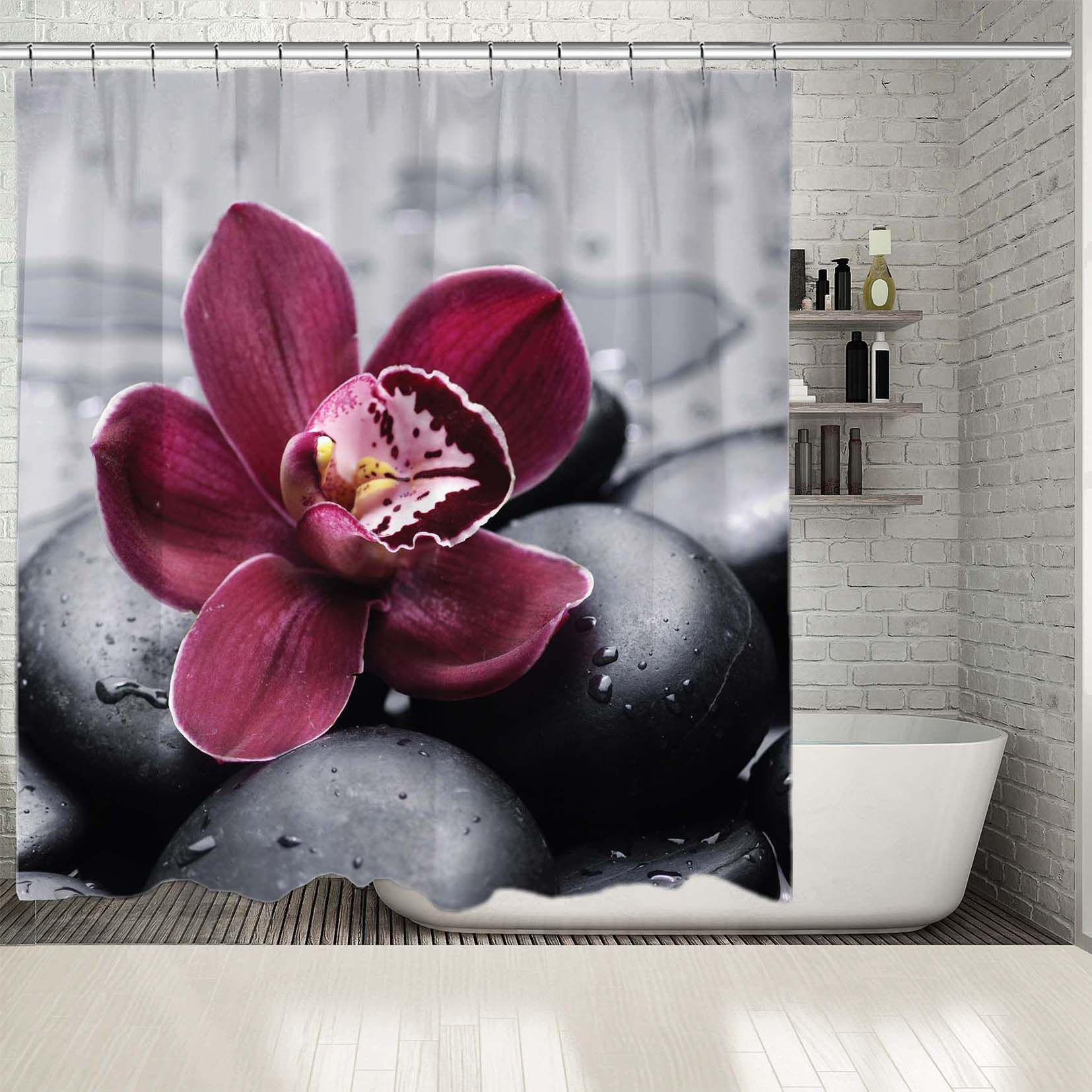 Shower Curtain Orchid On Spa Stones Waterdrops Exotic Relaxing Aromatherapy Concept Photo Burgundy Black Shower Curtains Aliexpress
