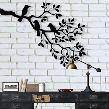 Metal Wall Art, Birds Decor, on Branch, Sculpture, Unusual Gift, Housewarming Gift