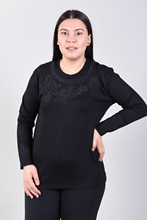 Women's Large Size Front Flower Print Black Blouse 2001