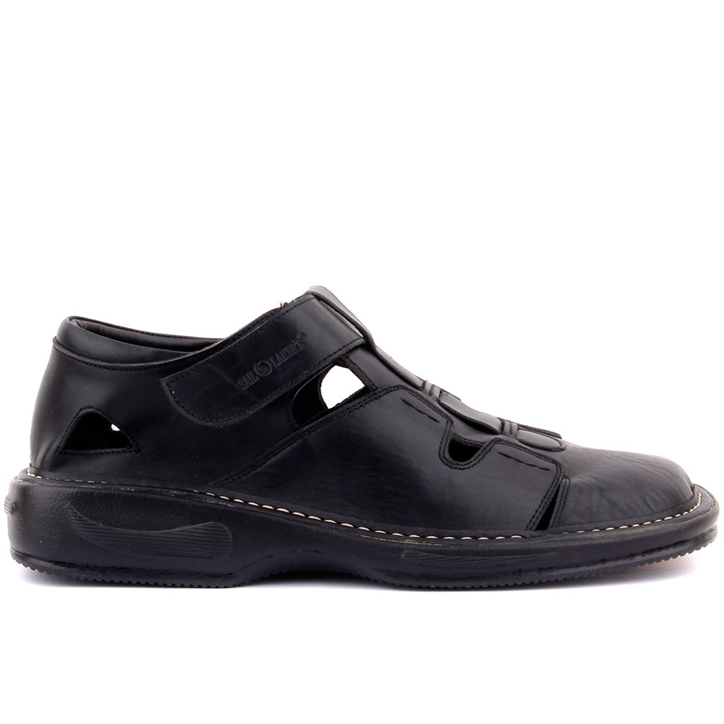 Sail-Lakers Black Leather Velcro Male Sandals