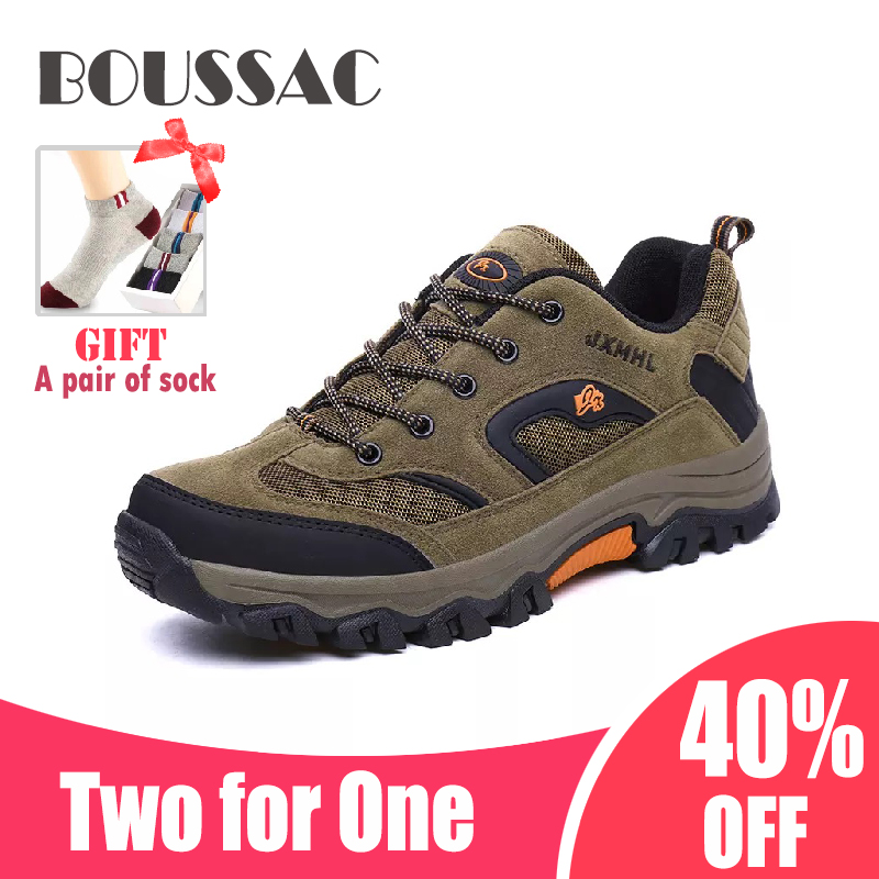 BOUSSAC Men's comfortable hiking shoes mesh Simply Style outdoor waterproof non-slip trekking shoes sport sneakers rax shoes men