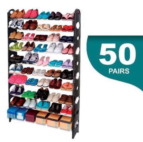 Ev ve Bahçe'ten Ayakkabı Rafları ve Organizatörleri'de ZAPATERO 50 ayrıntılar NEGRO MUEBLE ORGANIZADOR DE ZAPATOS MUEBLE ayakkabı rafı 10 BALDAS title=