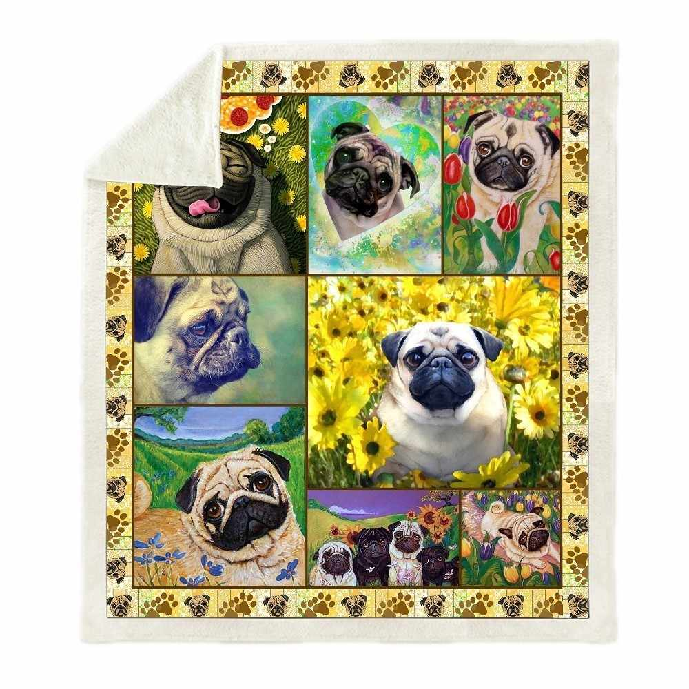 Pet Dog Labrador Pug Printed Plush Throw Blanket Sherpa Fleece Bedspread Home Blankets For Beds Camping Soft Square Blanket
