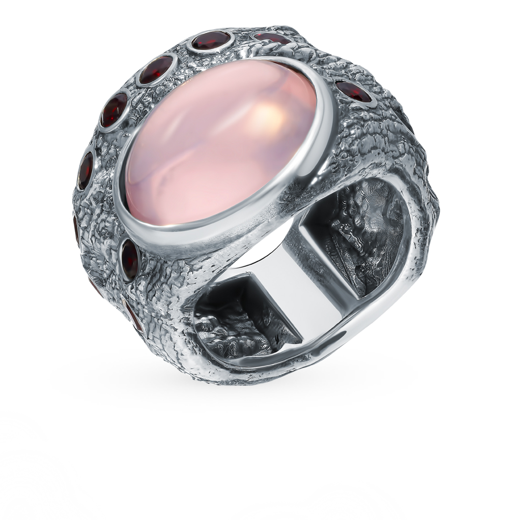 Silver Ring With Quartz And Garnet Sunlight Sample 925