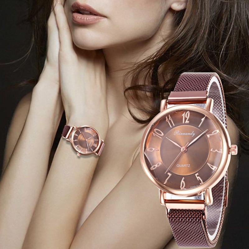 WJ-8569 часы Stainless Steel Strap Watch Women Classic Quartz Wristwatch Magnetic Buckle Sport Casual Watches Montre Femme 2019