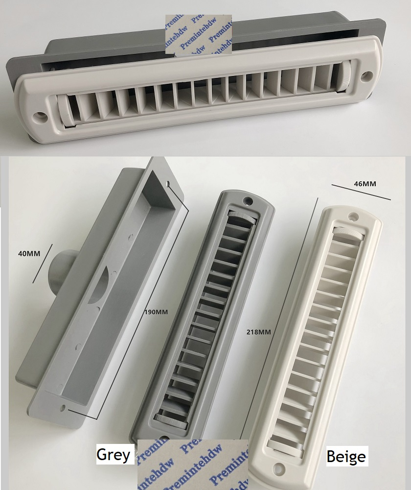 Beige Grey Long Rectangle ABS Air Duct Vent Outlet Dispenser A/C Air Conditioner Flow  Adjustable RV Travel Trailer Car Caravan