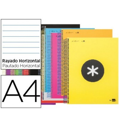 SPIRAL NOTEBOOK LEADERPAPER A4 MICRO ANTARTIK LINED TOP 120H 100 GR HORIZONTAL 5 BANDS 4 DRILLS ASSORTED COLORS 12 Units