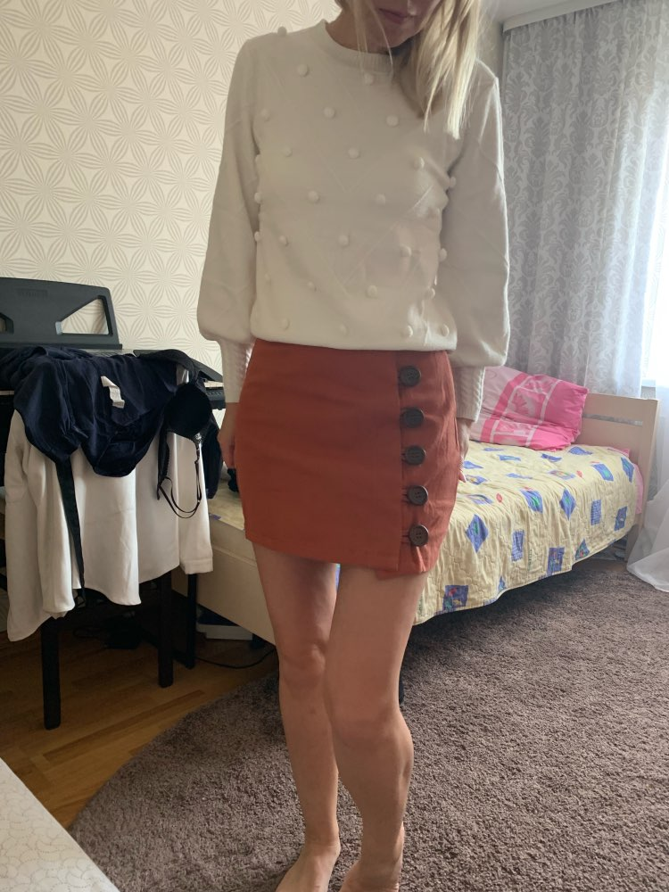Button Front Skirt Korean Style Brown High Waist A Line Skirt Spring Summer Women Mini Skirt photo review