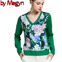 2019 свитер женский sweater Women Fashion V-neck Long Sleeve wool green flower Print Top Jumper  runway style 2XL plus size plus flower print flutter sleeve top