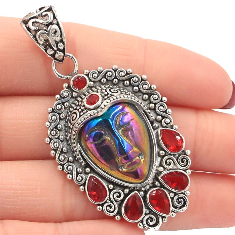56x29mm Special Big 14.1g Aura Rainbow Titanium Goddess Face, Red Ruby Gift Silver Pendant