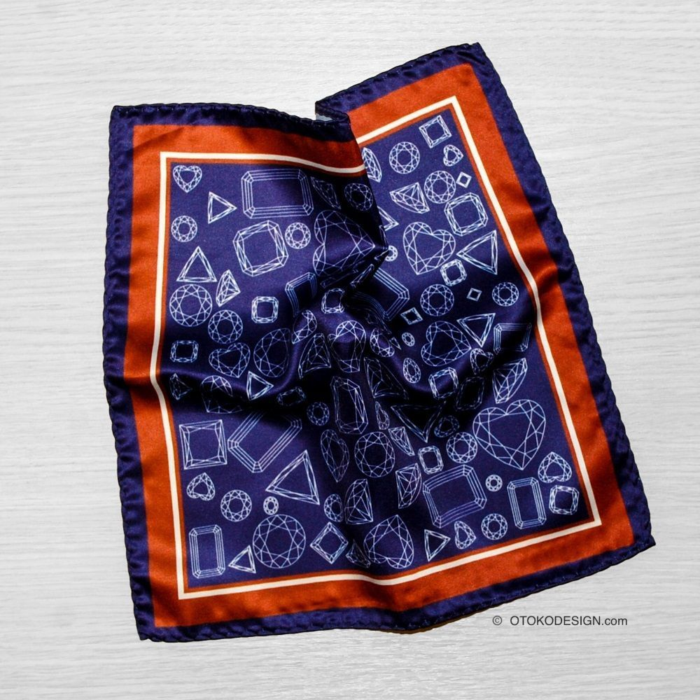 Purple Geometric Pocket Square With Brown Edging (52660)