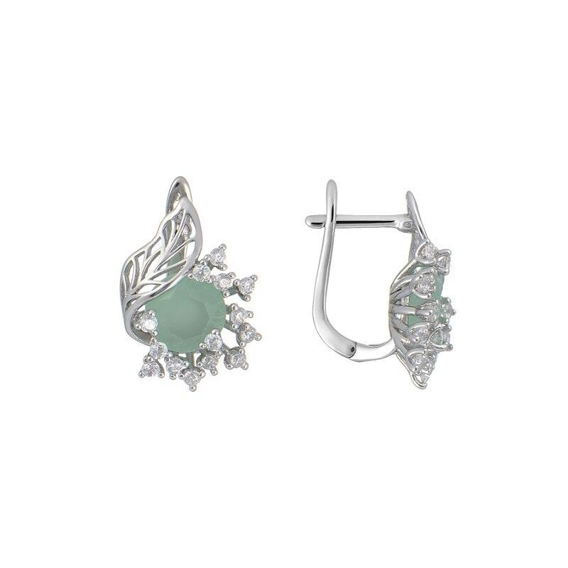 Bijoux de luxe qsy ensembles pour femmes. Belles boucles d'oreilles femme avec pierres. Bague large avec fleur zircon vert - 3