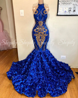 Long Nigeria Sexy Prom Dresses 2020 Halter Mermaid Gold Sequin 3D Flowers Royal Blue African Women Prom Dress