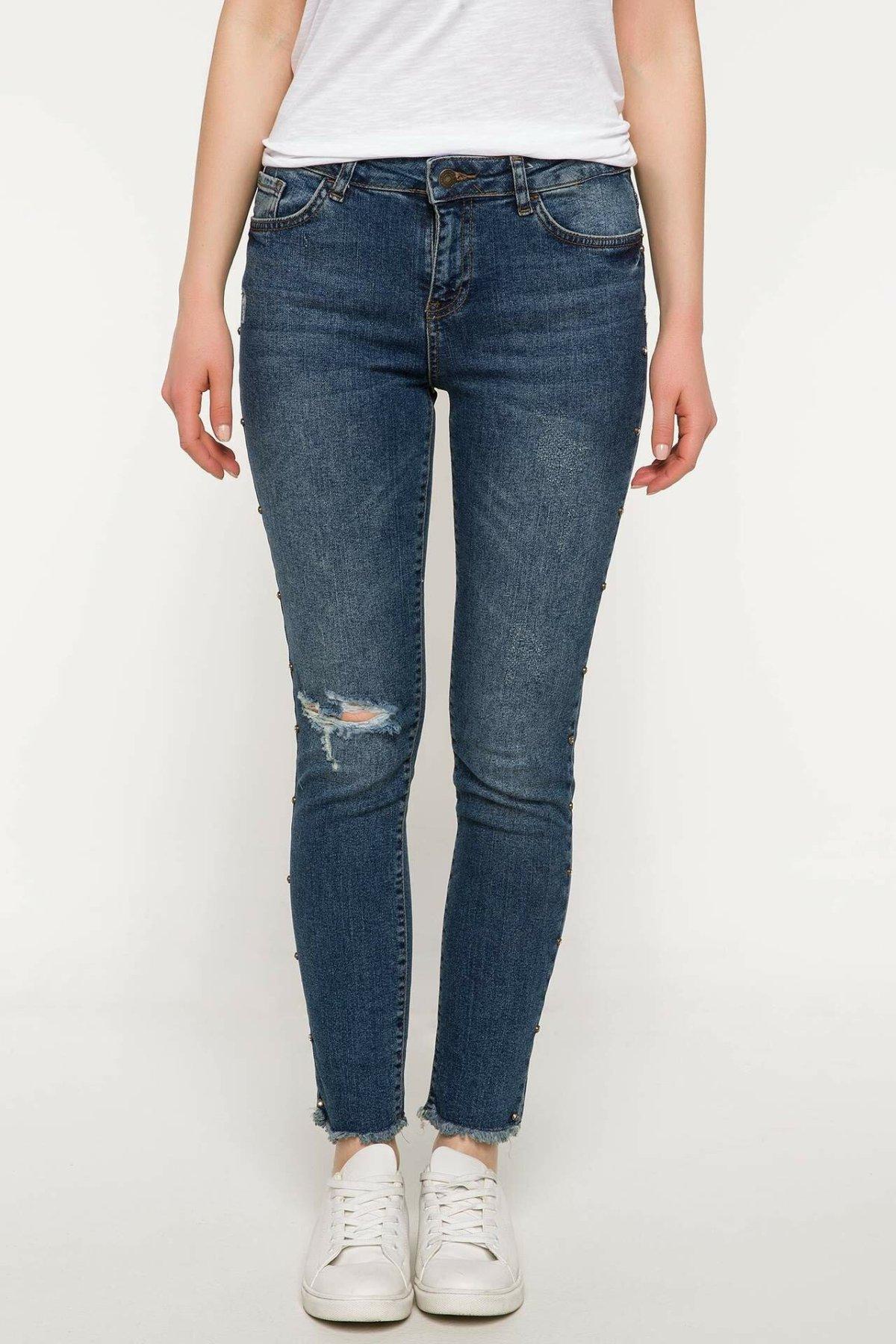 DeFacto Blue Lady Skinny Jeans Denim Hole Casual Mid-waist Denim Stretch Simple Nine Minutes Trousers Trousers-J0462AZ18SM