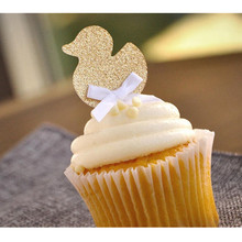 Custom Personalised Gold Glitter Duck Cupcake Toppers Gender Neutral Baby Shower Decorations Birthday paty paty cantú chile