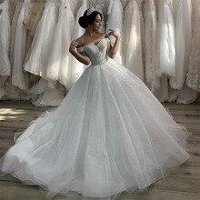 Женское свадебное платье со шлейфом, привлекательное Тюлевое платье с открытыми плечами и жемчужинами, со шнуровкой сзади, 2020