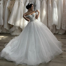2020 Wedding Dresses Sexy Sweetheart Off The Shoulder Court Train Pearl Tulle Wedding Dresses Lace Up Back Vestido De Noiva