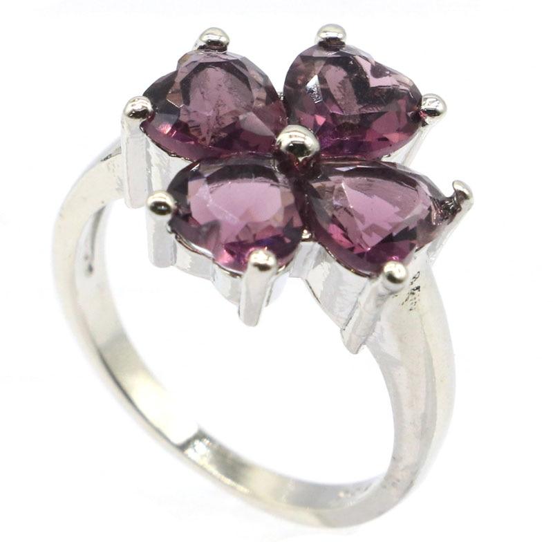 13x13mm belle forme de fleur créé topaze bleu londres violet améthyste cadeau pour dames cadeau anneaux en argent