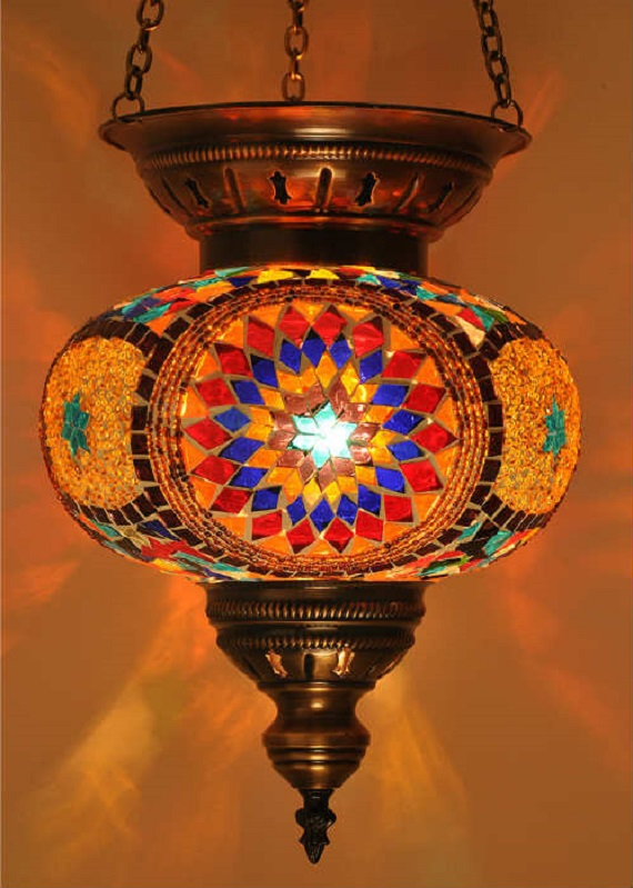 Handmade Multicolor Turkish Hanging Mosaic Lamp