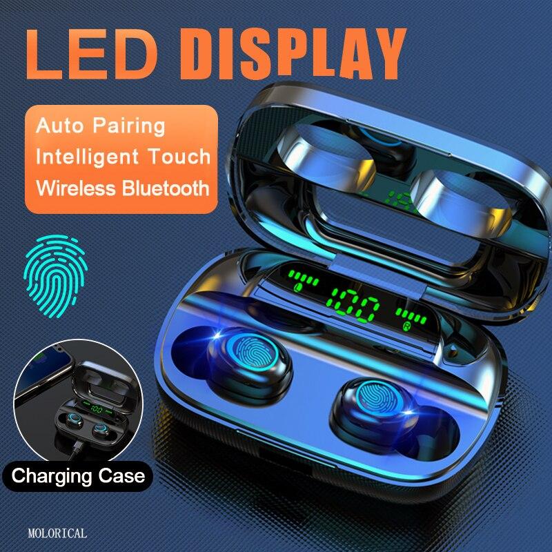 Наушники Bluetooth 5,0 с сенсорным управлением, беспроводные наушники, стереогарнитура 9D, зарядный чехол на 3500 мАч, светодиодный дисплей, подходи...