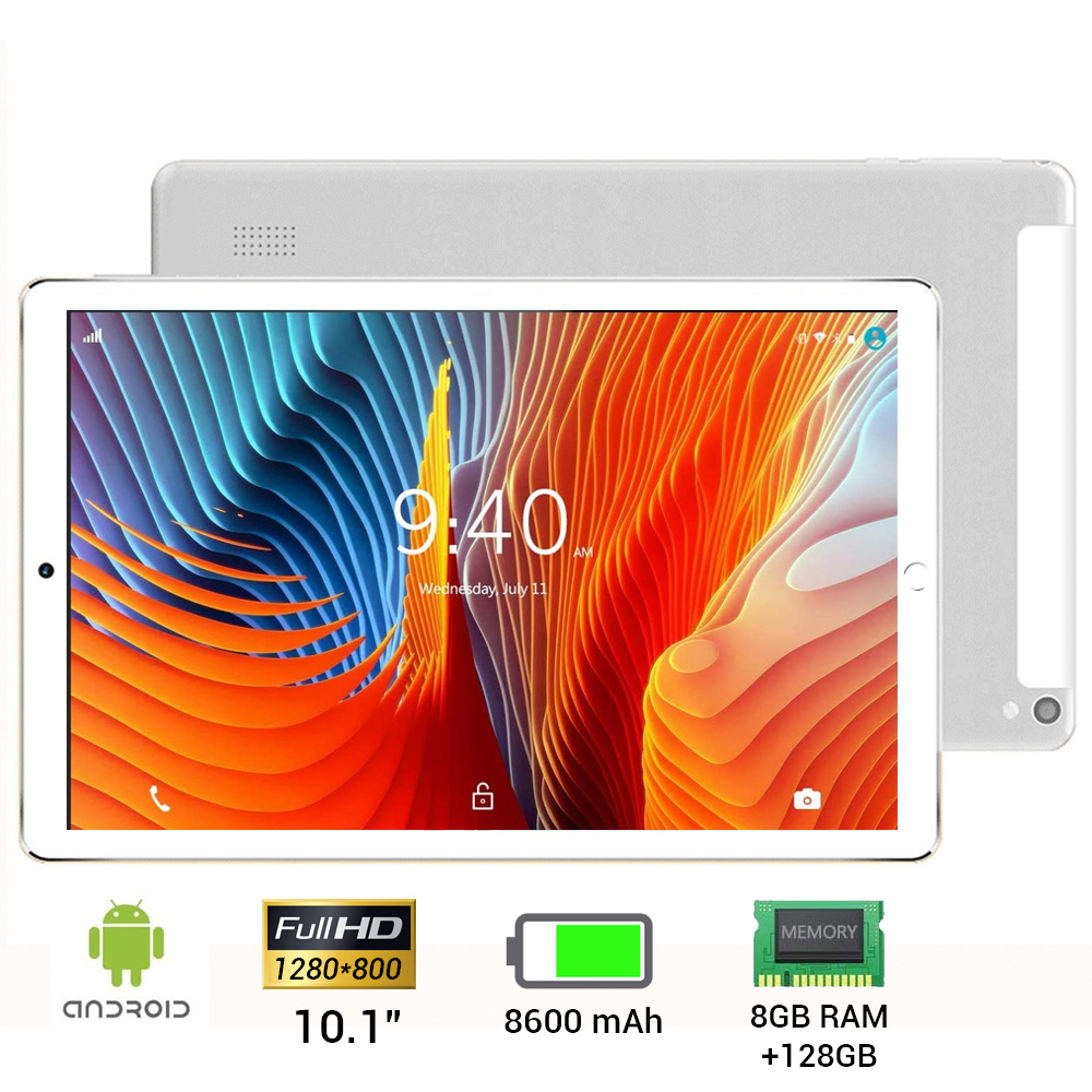 "tablet 10 pulgadas 10.1"" android Full HD 1280*800 con Android 128GB de almacenamiento interno 8GB de RAM con DUAL SIM WIFI y 4G"