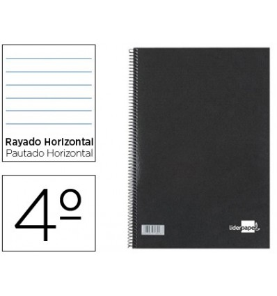 SPIRAL NOTEBOOK LIDERPAPEL HARDCOVER BLACK BATHROOM 80H NC 02 1 HORIZONTAL STRIPE 10 Units
