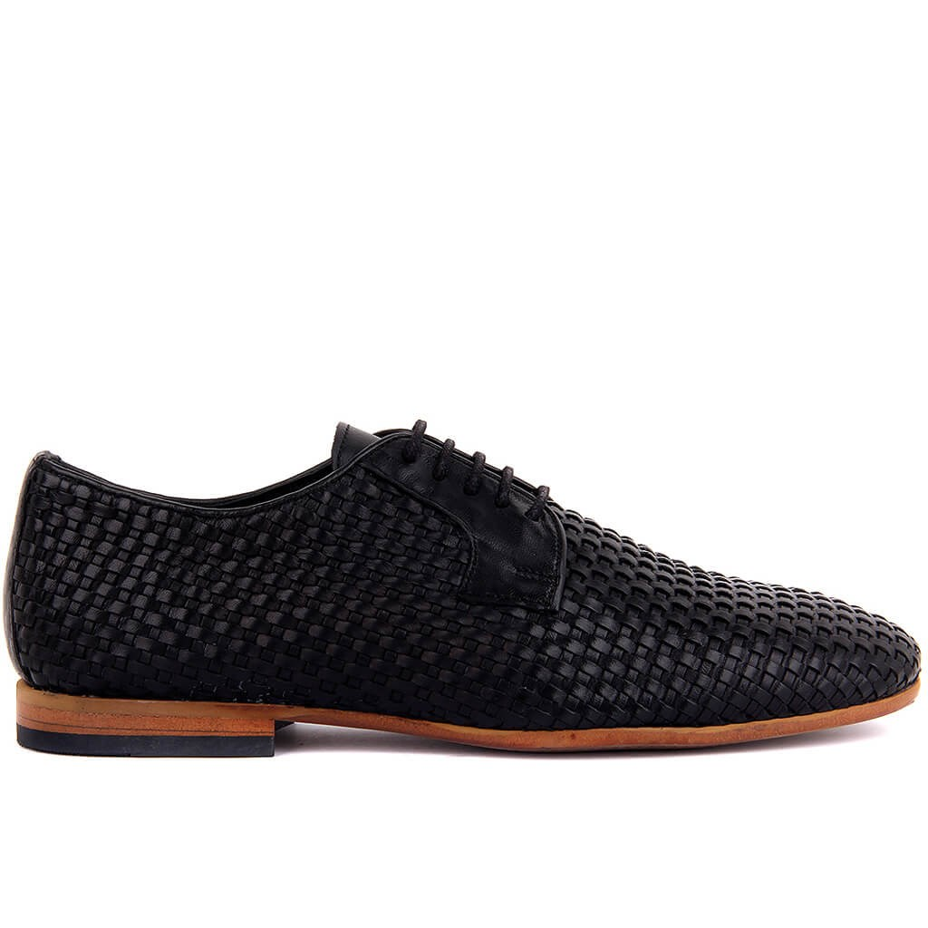 Sail-Lakers Black Leather Mesh Reinforcement Male Shoes