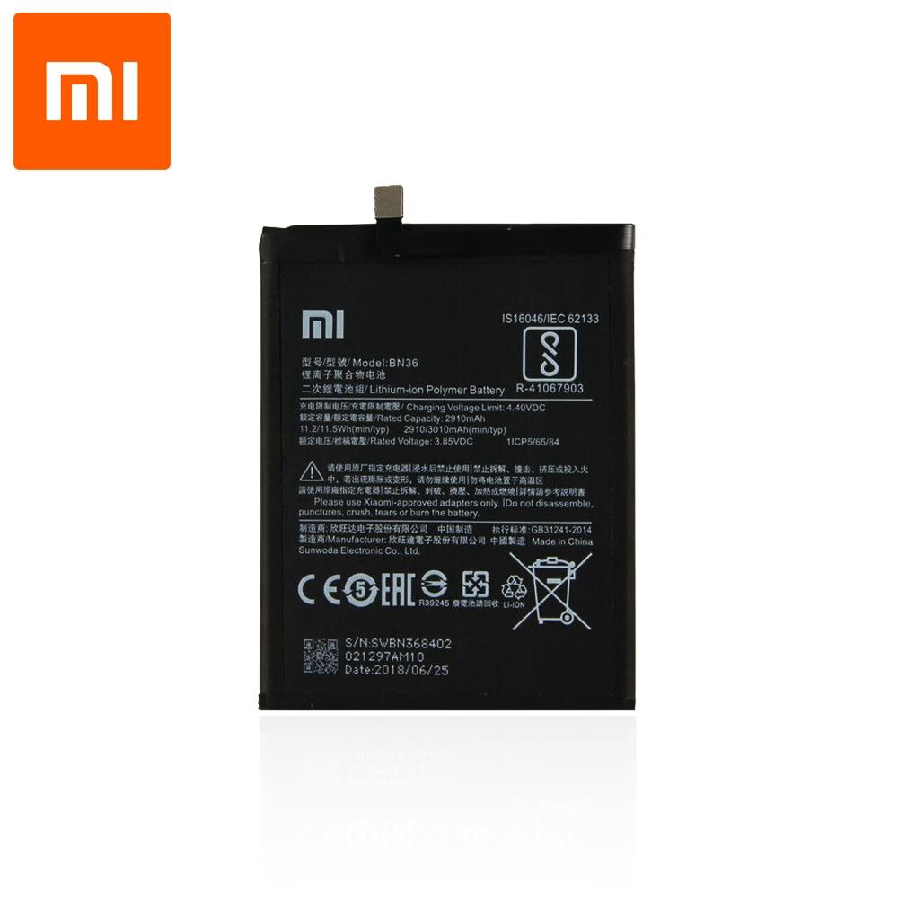 Оригинальный аккумулятор для смартфона Xiaomi Mi 6x / Mi A2 (3,85 В, 3010 мАч, BN36)