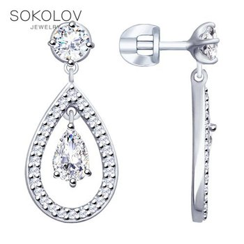 SOKOLOV Silver drop earrings with stones with cubic zirconia fashion jewelry silver 925 women's male, long earrings