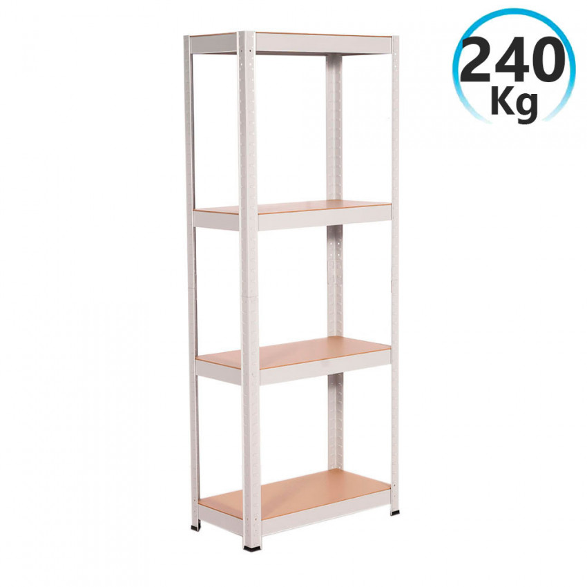 Bookshelf Metal White With 4 Shelves Adjustable 148x60x30cm 240Kg RDM