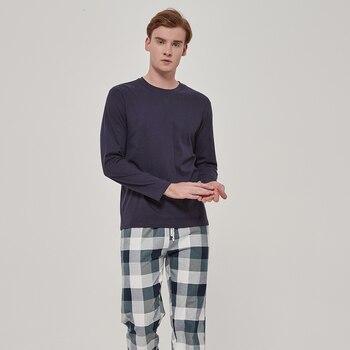 PimpamTex-men's flannel pajamas 100% cotton long sleeve and long pants-men's winter pajamas