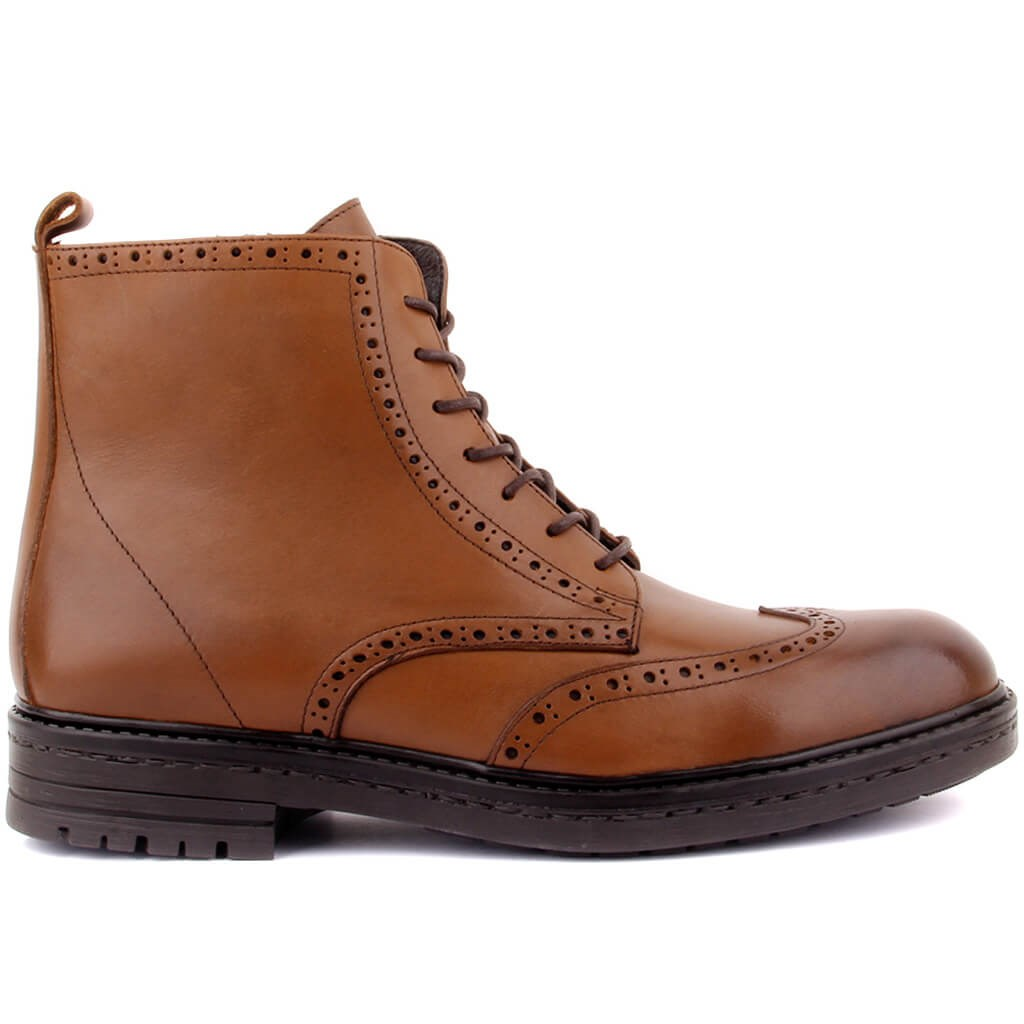 Sail Lakers-Tan Leather Zipper Male Boots