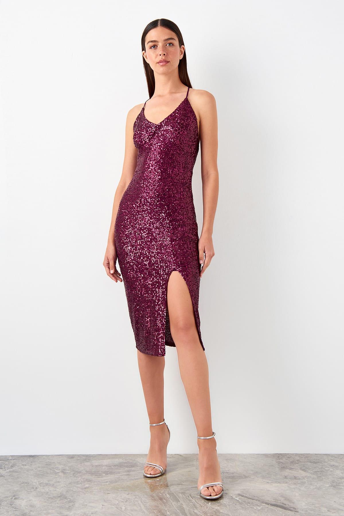 Trendyol Backpack Detailed Sequin Dress TPRSS19EL0563