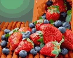 Malerei auf die zahlen von erdbeere und heidelbeere, 40x50 cm