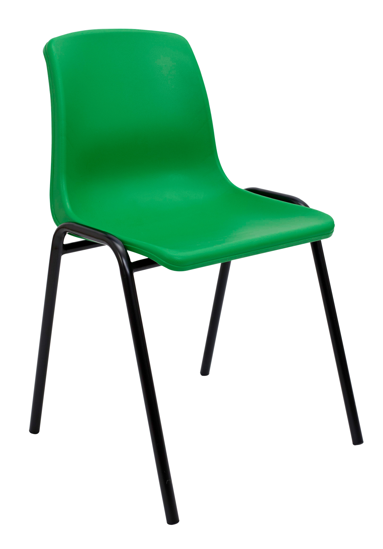 Visitor Chair Desk Ergonomic, Stackable And With Negro Up Seat And Backstop Structure PVC Green Color TAPHOLE AND CRESP