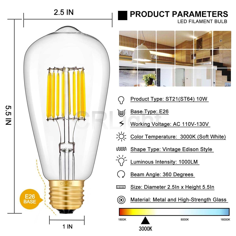 Светодиодный лампы 3200K мягкий белый, 700LM 70 ватт эквивалент E26 Средний База, Винтаж ST64 прозрачный Стекло Светодиодный лампочки накаливания, уп... - 3