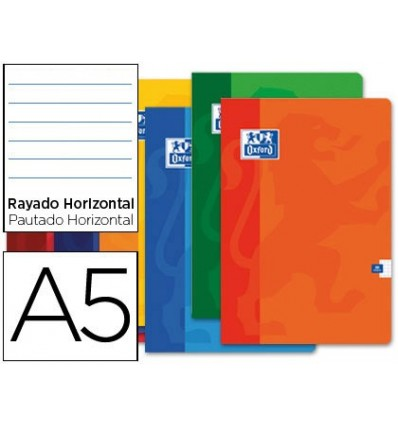 SCHOOL NOTEBOOK OXFORD 48 H DIN A5 HORIZONTAL STRIPED ASSORTED COLORS 10 PCs
