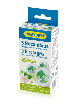 HUMYDRY Recambios Antihumedad Mini Tab 3x75g aroma Manzana. Para deshumidificadores Humydry Duplo. Ideal para espacios pequeños