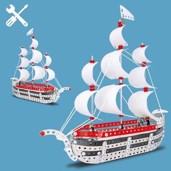 333 sztuk blok stalowy zabawki metalowe łódź klocki statek klocki zabawkowe klocki cegły na prezenty urodzinowe dla dzieci tanie i dobre opinie WAN MU XING Dot Not Eat 816B-19A 8 ~ 13 Lat 2-4 lat 5-7 lat Zawodów